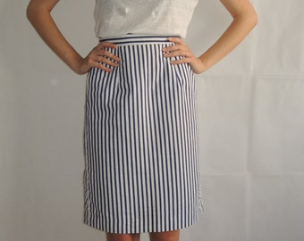 Vintage Navy Skirt/ Blu&White Stripes Skirt/ Back Button Skirt/ High Waisted Skirt