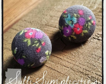 Gray & pink floral fabric button earrings