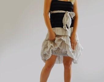 Black and beige extravagant dress/Casual Prom dress/Summer dress/Woman asymmetrical dress/clothing/Extravagant cotton taffeta dress/D1453