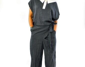 Black loose linen SET/Woman linen top and pants/Black casual set/Simple Extravagant Linen Set/Casual pants and loose Top/Black shirt/T1362