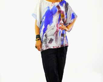 New collection/Maxi silk blouse/ silk 100% tunic/Hand painted silk top/Painting silk blouse/Extravagant loose tunic/Painting on hand/T1388