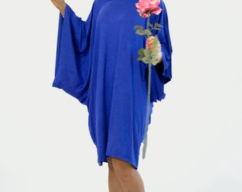 Royal blue tunic/Cotton jersey royal blue caftan/Maxi loose tunic/Maxi top tunic/Oversized caftan/Royal blue dress/Maxi day dress/D1417