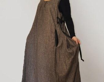 Brown casual cotton dress/Sleeveless dress /Long maxi/maxi  dress/Loose dress/Oversize long dress/Plus size clothing/Maxi brown dress/D1375