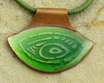 Handmade green enamel necklace