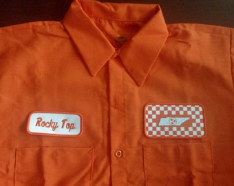 Rocky Top Work shirt with The Checkered board Orange Tennessee Logo