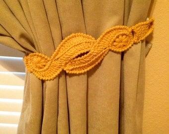 Crochet Curtain Tiebacks  (1 pair gold/yellow)