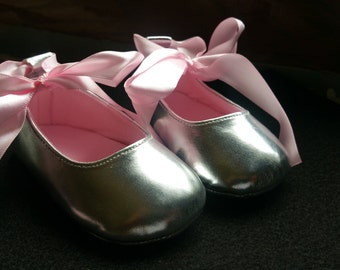 Clearance Sale, Silver ballerina shoes, Baby girl Shoes,Silver Baby Shoes,Christening baby shoes, Wedding Baby Shoes, Baptism, Ready to ship