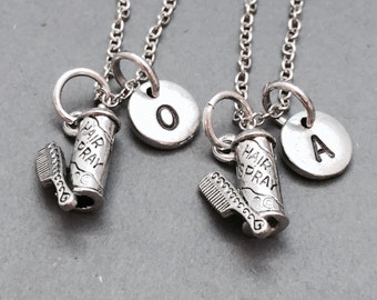 Best friend necklace, hairspray charm necklace, sister necklace, bff necklace, friendship necklace, friends necklace, initial necklace