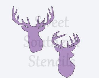 Deer Heads Stencil