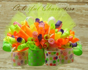 SALE Neon Funky Loopy Bow, Girls hair bow, korkers, ready to ship