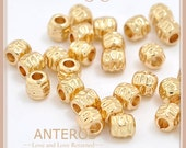 5%OFF 50 PCS Gold Filled Texture Beads/Tiny Strip Texture,5mmx5mm,Handmade,DIY,Bracelet,Necklace,Gold Filled Brass(GFB0048-50)