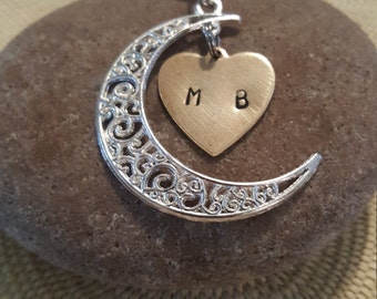 Crescent Moon with heart necklace: Choose initials