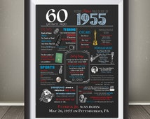 Personalized 60th Birthday Chalkboard Poster Design, 1955 Events & Fun Facts, 60th Birthday Gift, Digital File