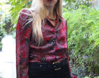 Vintage Tropical Print Blouse By Jonathan Martin Size S/M Red