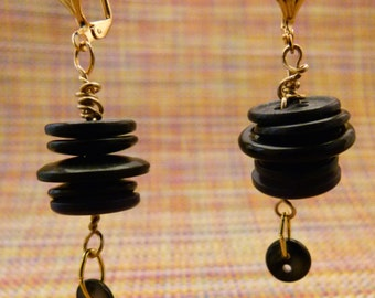 Black Button Earrings E0027