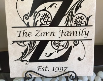 Personalized tile with stand, monogram, wedding gift, bridal shower gift 12 x 12, Family, name, Housewarming, home decor, shower gift