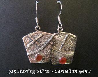 Earrings 016: Sterling Silver Earrings with Carnelian Gemstone set on Hammer Finish Ornate Drop Earrings | Carnelian Gemstone Earrings