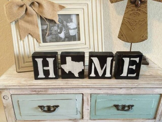 Home Wood Blocks. Texas Home Decor. Wood Letter Blocks. Hand