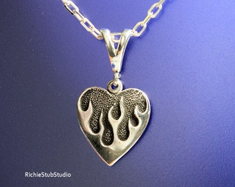 Hot Flaming Heart Pendant Necklace Sterling Silver Handcrafted
