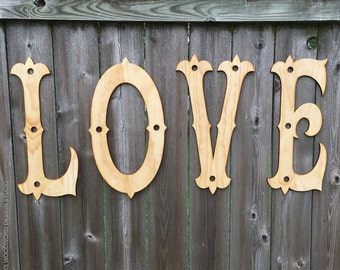 LOVE Wood Letters - Ornate Home Decor Sign - Wedding Decor - LOVE cut out of wood - wooden words - laser cut words - 4 letter word