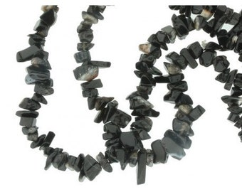 Thread Chips beads with Black Onyx - strand 90cm