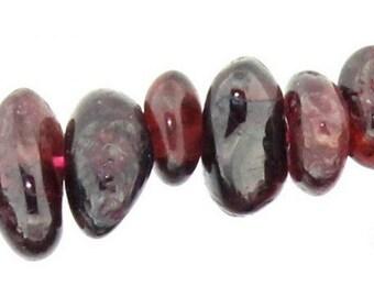 Wire chips beads red garnet - 90cm wire