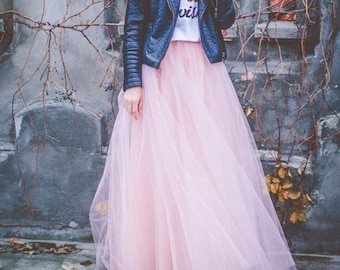 Blush Pink Full Length Wedding Bridesmaid Gown Long Tulle Skirt