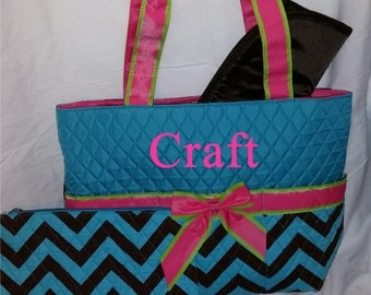 Monogram Diaper Bag Quilted Turquoise and Brown Chevron Diaper Bag with Pink and Lime Trim - 3 pc