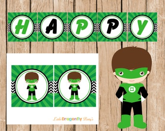 Green Lantern Happy Birthday Instant Download, DIY Banner