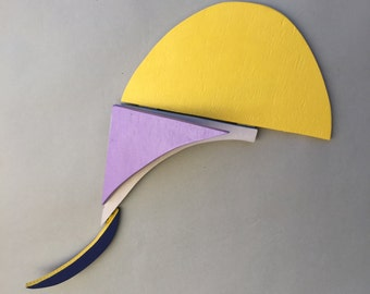 Sculpture  / Modern Art / Wall Sculpture / Wood / Wall Art / Abstract Shapes / By Sue Cobb /  Modern Sculpture / Yellow Purple Abstract /