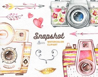 Snapshot. Watercolor handpainted cameras clipart, wedding, diy elements, flowers, invite, logo, photocamera, boho, clip art, photographer