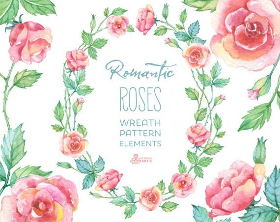 Romantic Roses Wreath Patterns Floral Elements