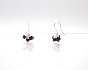 Bloom - silver earrings with purple pearls