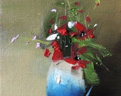 Red flowers in a blue vase; original oil painting on canvas