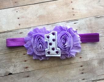 Baby Girl First Birthday Headband, Baby Headband, Shabby Chic Headband, Toddler Headband, First Birthday, Purple Headband, 1st birthday
