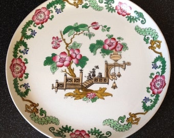 Vintage Wedgwood & Co, Imperial Porcelain Cabinet Plate, Asian influence with Cherry Blossom and Chinese Figures.