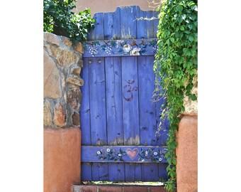 Door Photography, Door Art Print, Southwest Photo Art, Blue Door Print, Santa Fe Photo, Santa Fe Decor, Periwinkle, Heart, Adobe Wall,