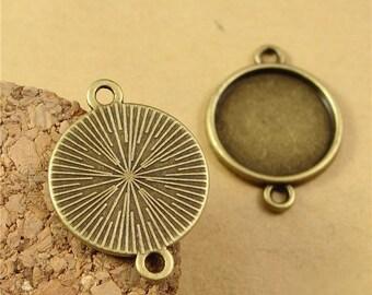 10pcs 12MM Vintage Antique Bronze Round Cameo Cabochon Base Setting Pendants Charm Pendant (DT-A1303)