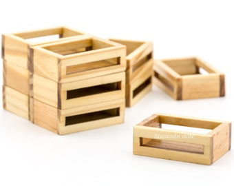 10pc/Set - Dollhouse Miniatures Wooden Fruit Crate Box Carton