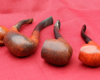 4 Vintage Bent Pipes Varying Sizes and Makers              00285