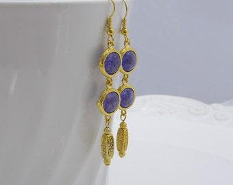 Purple and Gold Drop Earrings