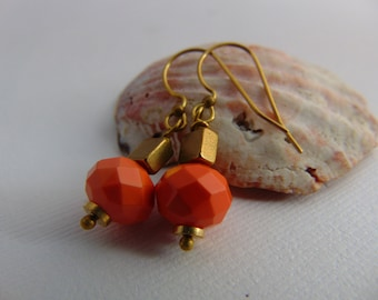 20% Off Any Order Coral And brass Earrings