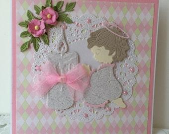 Handmade Christening / Baptism Card for Girl