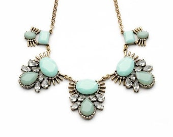 Mint Crystal Statement Necklace