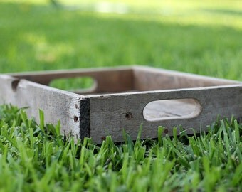 Rustic Serving Tray (Small Version - Natural Shown), Ottoman Tray, Wooden Tray, Serving Tray, Coffee Table Tray, Cocktail Tray, Farm Tray