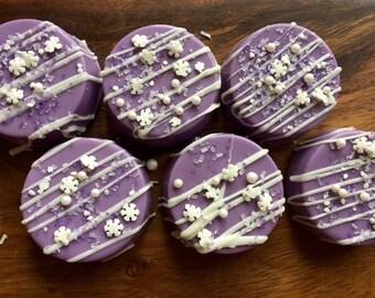 Chocolate Dipped Oreo Cookies Frozen Inspired Edible 1 Dozen (12)