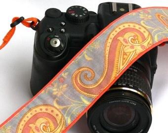 Paisley Camera Strap. DSLR SLR Camera Strap. Orange Camera Strap. Camera Accessories