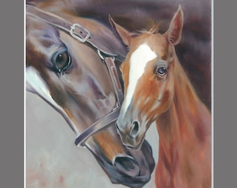 Mare with baby Bay Horses painting 11.6x16.5 inches Art Print from the Original Oil Painting