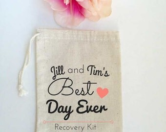 10 Wedding Favors, Hangover Kit, Recovery Kit, Party Favors, Wedding Guest Favor Bags, Gift Bags, Thank You Gift Custom - Best Day Ever