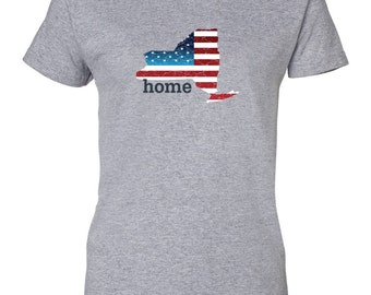 Patriotic American Flag New York State Fourth of July Womens T-Shirt